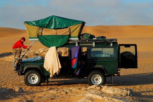 Stock Photo: 1848-125551 Landrover in the dunes at Sylvia Hill, Diamond Area, Namibia
