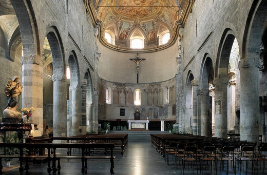 Stock Photo: 1848-125764 San Michele cathedral, interior, Albegna, Liguria, Riviera, Italy