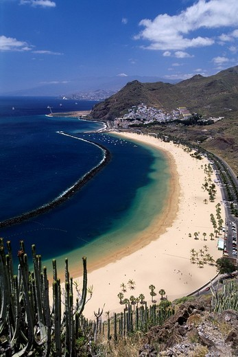 Las Teresitas Beach viewed from above, San Andres, Canary Islands, Tenerife, Spain, Europe : Stock Photo