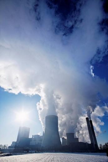 Lignite_fired power plant Niederaussem, operated by RWE Power, Bergheim, Northrhine_Westphalia, Germany, Europe : Stock Photo