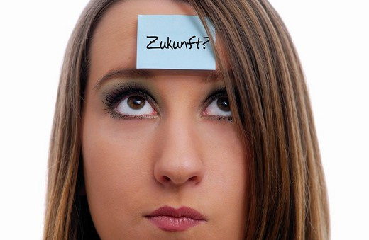 Stock Photo: 1848-126450 Pensive woman, Zukunft, future written on a piece of paper on her forehead, fears for the future