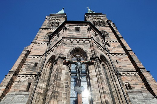 Crucified Jesus Christ, St. Sebaldus Church, Protestant, pier basilica, historic centre, Nuremberg, Middle Franconia, Franconia, Germany, Europe : Stock Photo