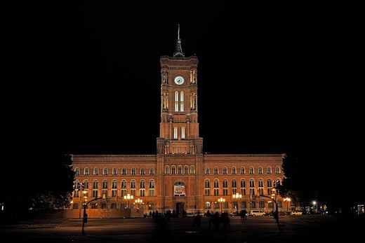 Stock Photo: 1848-127054 Red Town Hall at night, Alexanderplatz, Berlin, Germany, Europe