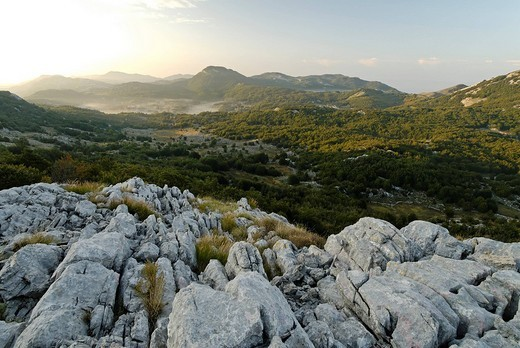 Karst mountains at Lovcen National Park, Montenegro : Stock Photo