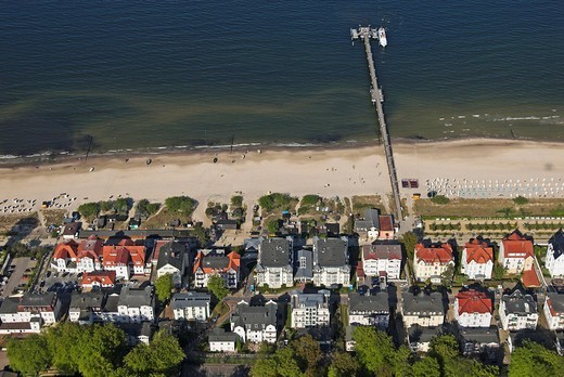 Aerial view of Bansin and its pier at sea, Usedom island, Mecklenburg Western Pomerania, Germany, Europe : Stock Photo