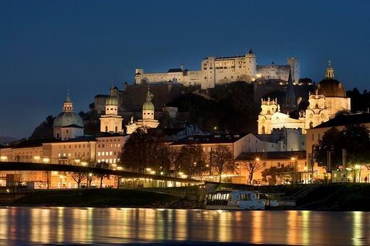 Historic centre and Hohensalzburg Fortress, Salzach, Salzburg, Austria, Europe : Stock Photo