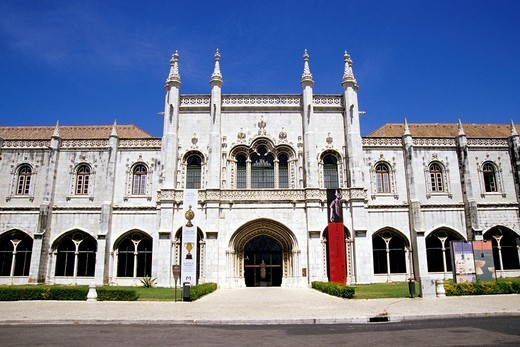 Stock Photo: 1848-128345 Mosteiro dos Jeronimos, Jeronimos Monastery, 16th century, main entrance and facade of the western wings in Manueline style, the former dormitory is a museum today, Praca do Imperio, Belem, Lisbon, Portugal, Europe