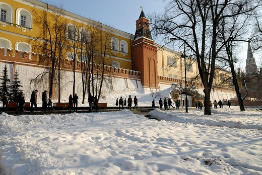 Stock Photo: 1848-128510 Kremlin wall from the side of the Alexander Garden, Moscow, Russia