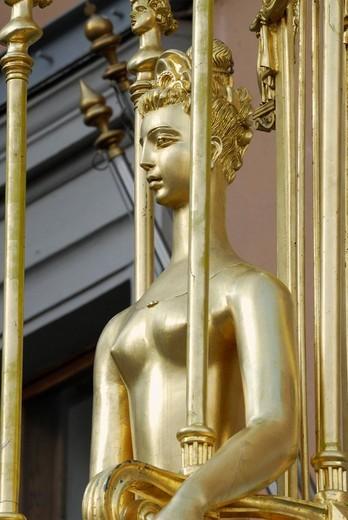 Stock Photo: 1848-12899 Statue of Princess Turandot of the Carlo Gozzi play Princess Turandot, in front of Vakhtangov Theater on Arbat Street, Moscow, Russia