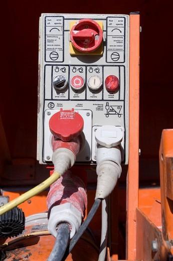 Pinboard, power generator, power current : Stock Photo