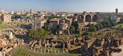 Complete view of the Forum Romanum Roman Forum from Palatine Hill, Rome, Italy, Europe : Stock Photo