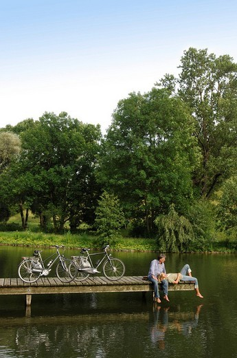 Best Agers, bicyclists, bicycle tour, break, Olympia Center, Munich, Bavaria, Germany, Europe : Stock Photo