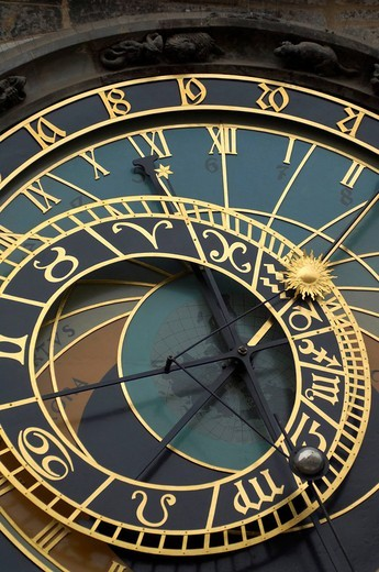 Stock Photo: 1848-129796 Prager Orloj astronomical clock, old city hall in Prague, Czech Republic, Europe