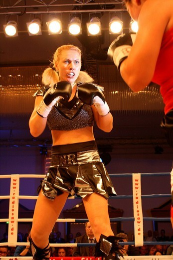 Natascha Ragosina concentrating during her seven_time world champion fight against Teresa Perozzi in the Hotel Maritim in Magdeburg, Germany : Stock Photo