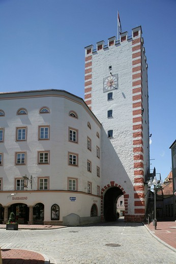Muenchner Tor, Munich Gate, Stadtplatz, town square, Muehldorf am Inn, Upper Bavaria, Germany, Europe : Stock Photo