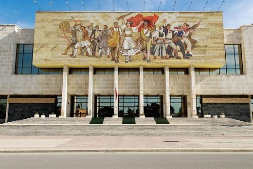 Socialist propaganda and hero mosaic on the National Museum, Skanderbeg Square, Tirana, Albania, Europe : Stock Photo