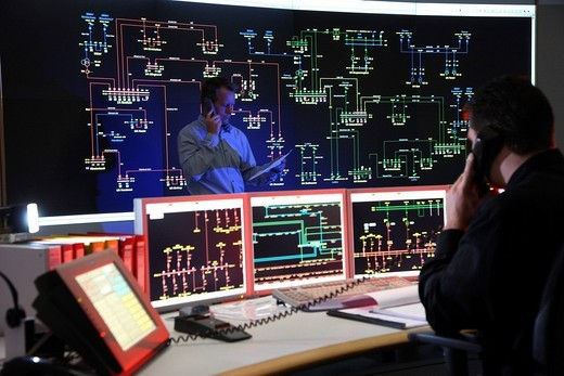 Stock Photo: 1848-13040 Power Control Centre of the ELE, Emscher Lippe Energie GmbH, a subsiduary of the RWE, control room of the regional energy network for gas and electricity, Gladbeck, North Rhine_Westphalia, Germany, Europe
