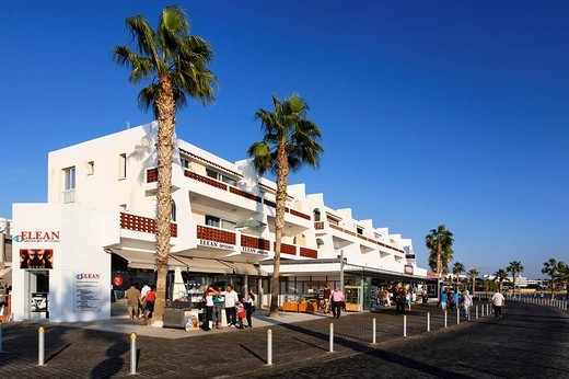 Shore promenade with people, shops, restaurants and palm trees, Kato, Paphos, Pafos, Cyprus, Europe : Stock Photo