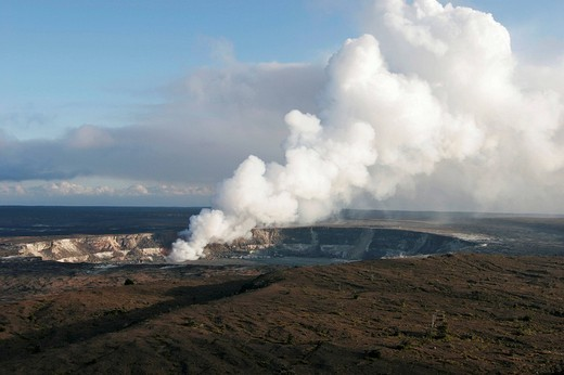 Stock Photo: 1848-13052 Smoking Hotspot in the Kilaua Caldera in the Hawaii Volcanoes National Park on Big Island, Hawaii, USA