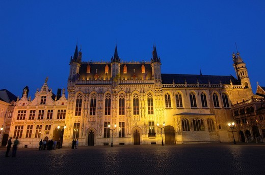 Stock Photo: 1848-130864 Town Hall at dusk, Bruges, Flanders, Belgium, Europe