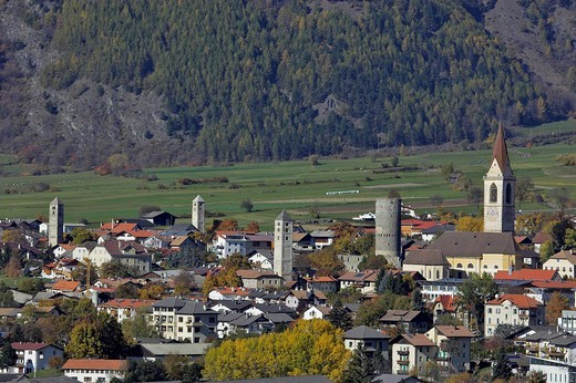 View from the Tartscher Bichl to the village of Mals, Tartsch, Upper Vinschgau, South Tyrol, Italy : Stock Photo