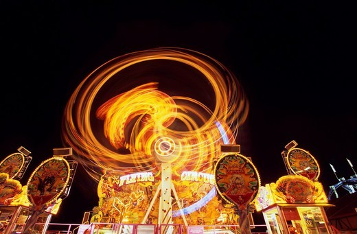 Amusement rides at Oktoberfest Octoberfest Munich Beer Festival, Munich, Germany, Europe : Stock Photo