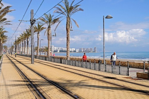 Stock Photo: 1848-131826 Tram line along the coast, Les Llances, Alicante, Costa Blanca, Spain, Europe