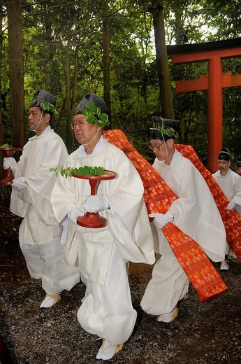 Procession from the Shimogamo shrine through the forest to the Mikage shrine at Mt. Mikage, west of the Hie Mountain, Kyoto, Japan, Asia : Stock Photo