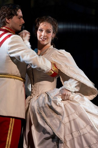 Stock Photo: 1848-132238 Annemieke van Dam, actress playing Elisabeth and Markus Pol as the emperor Franz Joseph in the Elisabeth Musical, at the premier in the 11 Theatre in Zurich, Switzerland