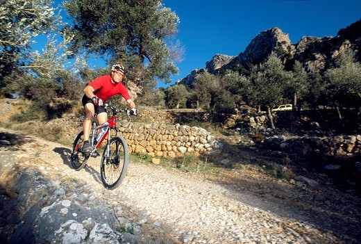 Mountainbiker near Fornalutx, Mallorca, Spain, Europe : Stock Photo