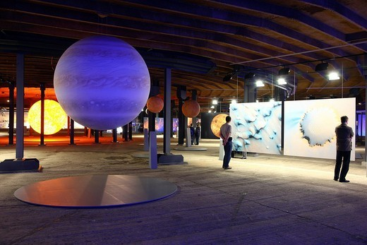 Stock Photo: 1848-1324 Three_dimensional representation of the Sun and her planets, Out of this World – Wonders of the Solar System, exhibition in the Gasometer, a former gas tank, Oberhausen, Ruhr Area, North Rhine_Westphalia, Germany, Europe