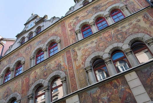 Stock Photo: 1848-13242 Murals on the exterior facade, Town Hall, Konstanz, Lake Constance, Baden_Wuerttemberg, Germany, Europe