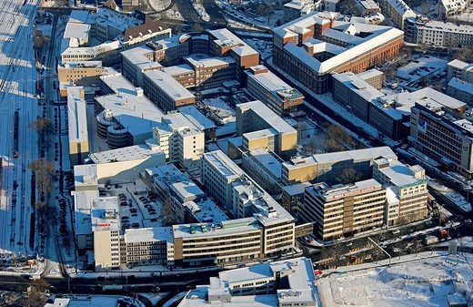 Aerial photo, Westdeutsche Allgemeine Zeitung, newspaper, headquarters WAZ, WAZ company, snow, Essen, Ruhrgebiet, North Rhine_Westphalia, Germany, Europe : Stock Photo