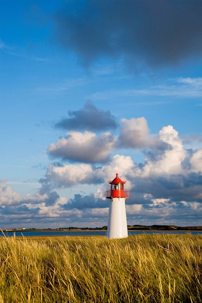 List_West Lighthouse, northern part of the island known as Ellenbogen, Sylt, North Frisia, Schleswig_Holstein, Germany, Europe : Stock Photo
