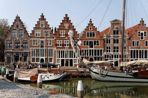 Harbour of Hoorn at the IJsselmeer, historic house fronts, Province of North Holland, Netherlands, Europe : Stock Photo