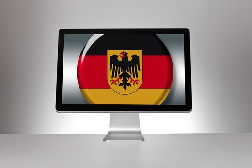 Screen, flag of Germany, German Federal Eagle : Stock Photo