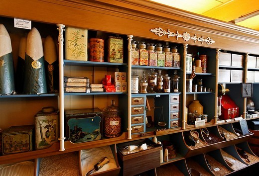 Stock Photo: 1848-13295 Historical grocer´s shop, first shop of Albert Heijn of the Dutch supermarket chain, open_air museum Zaanse Schans, province of North Holland, Netherlands, Europe