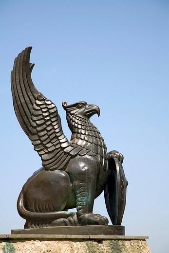 Griffin statue, Murom, Russia : Stock Photo