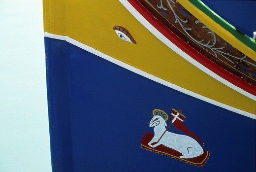 Stock Photo: 1848-133342 Typical fishing boat, Marsaxlokk, Malta