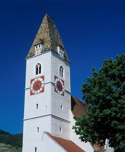 Church in Spitz, Wachau Region, Lower Austria, Austria : Stock Photo