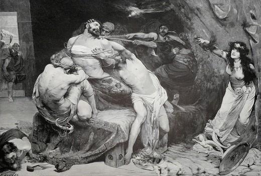 Stock Photo: 1848-133805 Samson und Dalila, woodcut depicting Samson and Delilah, from Moderne Kunst in Meisterholzschnitten 1903
