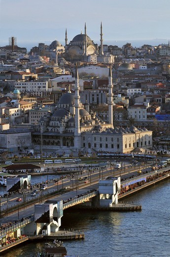 View of the historic centre of Istanbul from Galata bridge, Istanbul, Turkey : Stock Photo