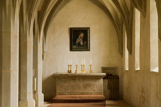Altar with picture of the Virgin Mary, Mariaburghausen Klosterkirche Church Crypt, Lower Franconia, Bavaria, Germany, Europe : Stock Photo