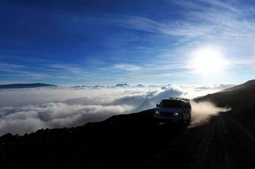 Access road to the summit of the extinct volcano Mauna Kea, Hawaii, USA : Stock Photo