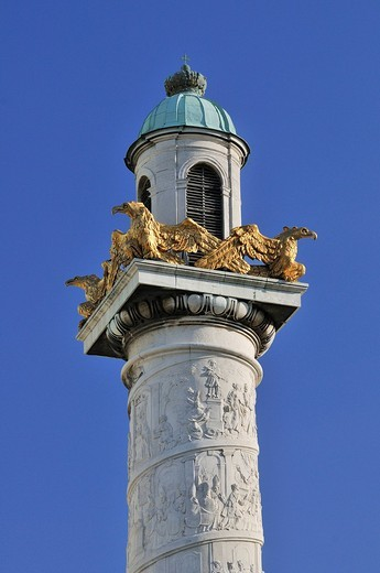 Column carved with biblical scenes, St. Charles´s Church, Karlskirche, Vienna, Austria, Europe : Stock Photo