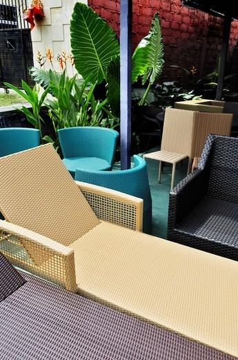 Stock Photo: 1848-13427 Weather resistant plastic rattan furniture, Sanur, Denpasar, Bali, Indonesia, Southeast Asia