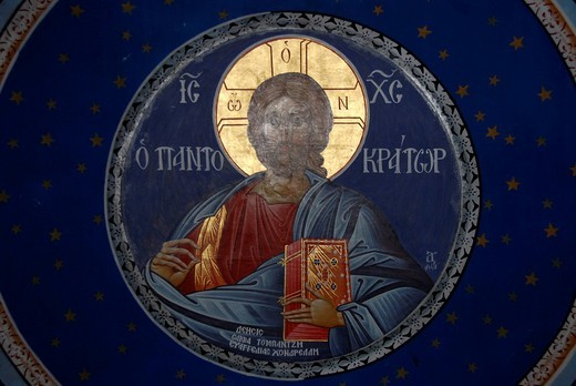 Greek Orthodox Christianity, ceiling painting in the dome, Christ Pantocrator, chapel of Skala Sikaminea, Lesbos Island, Aegean Sea, Greece, Europe : Stock Photo