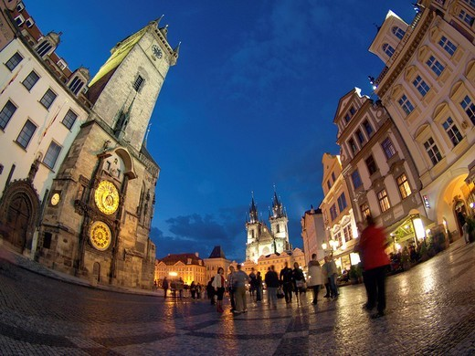 Old Town Square at night, Prague, Czech Republic, Bohemia, Eastern Europe : Stock Photo