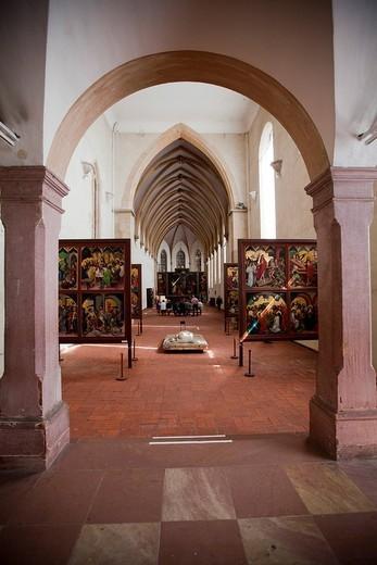 Isenheim altarpiece by Gruenewald and Niklaus von Hagenau from around 1512, Unterlinden, Rue d´Unterlinden, Colmar, Alsace, France, Europe : Stock Photo