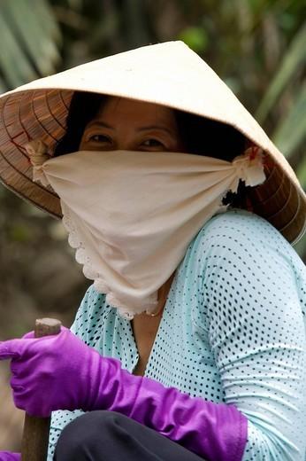 Stock Photo: 1848-135504 Vietnamese woman with mask, Vietnam, Asia